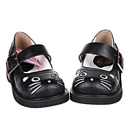 Handmade Black Cat PU Leather Flat Sweet Lolita Shoes