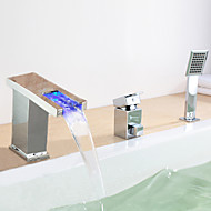 Contemporary Roman Tub LED / Waterfall / Widespread with  Ceramic Valve Single Handle Three Holes for  Chrome , Bathtub Faucet