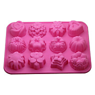 12-in-1 zacht rubber cake / brood / mousse / jelly / chocolade mal (willekeurige kleur)