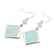 Simple and refreshing sky blue square fashion flash diamond earrings E705