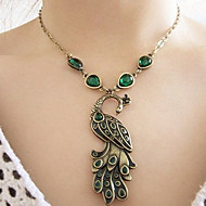 Women's Vintage Green bohemian peacock clavicle Necklace N384