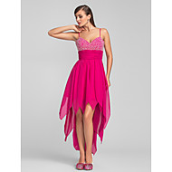 TS Couture® Cocktail Party / Prom Dress - Fuchsia Plus Sizes / Petite A-line Spaghetti Straps Asymmetrical Chiffon