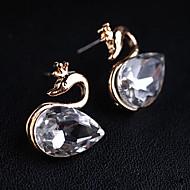 여성의 한국어 버전은 블랙 다이아몬드 크리스탈 백조 귀걸이 (임의의 색상을) 반짝 반짝