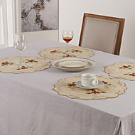 Rouge Polyester Rond Sets de table