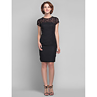 Lanting Bride Sheath / Column Plus Size / Petite Mother of the Bride Dress Knee-length Short Sleeve Chiffon / Lace with Lace
