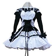 Long Sleeve Short Black and White Cotton Shiro& Kuro Lolita Dress