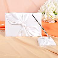 bryllup gjestebok og penn sett med elfenben sateng knute de sign sign in bok