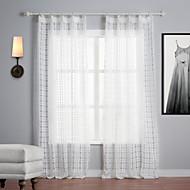 Dois Painéis Tratamento janela Mediterrêneo , Xadrez Poliéster Material Sheer Curtains Shades Decoração para casa For Janela