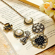 European and American vintage jewelry pearl bow necklace sweater chain N90