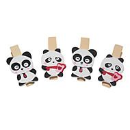 Panda Pattern Wooden Clip (4 kpl)