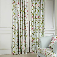 TWOPAGES® Two Panels  Country Flower and Leaves Eco friendly Curtains Drapes