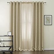 Two Panels Tender Leaf Blackout Curtains Drapes with Sheer Set