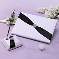 chic Hochzeit Gästebuch und Stift in schwarzem Satin mit Elfenbein Schärpe und Strass loggen Buch gesetzt