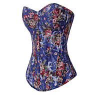 Brocade Pattern Strapless Lace up Back Denim Country Lolita Corset