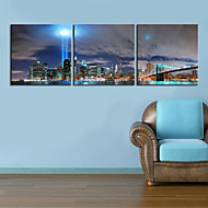 Stretched Canvas Art Landscape the City Center Set of 3