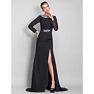 Formal Evening/Military Ball Dress - Black Plus Sizes Sheath/Column Bateau Floor-length Chiffon