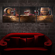 Op gespannen doek kunst Still Life Wine and Barrel Set van 3