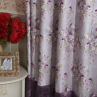 (Two Panels) Michelle Luxury® Country Purple Roses Energy Saving Curtain