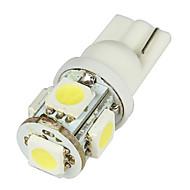 Medios T10 2W 50LM 5-SMD LED coche bombillas blancas - Par (DC 12V)-LEDD004T10A5S1