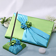Green Wedding Guest Book And Pen Set With Green And Blue Flowers Sign In Book