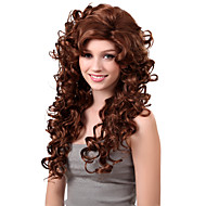 Capless lange synthetische Chocolate Brown Curly Perücke Side Bang