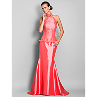 Military Ball/Formal Evening Dress - Watermelon Plus Sizes Trumpet/Mermaid High Neck Sweep/Brush Train Lace/Taffeta