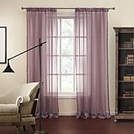 Two Panels  Purple Stripe Jacquard Sheer Curtains Drapes