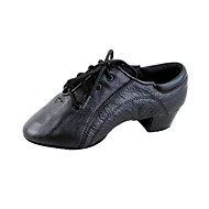 Non Customizable Kids'/Men's Dance Shoes Latin/Ballroom Leather Chunky Heel Black