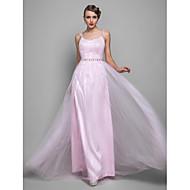 Formal Evening / Prom / Military Ball Dress - Blushing Pink Plus Sizes / Petite Sheath/Column Straps Floor-length Tulle