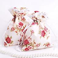 Stoff Kordelzug Favor Taschen mit Spitze-Rand - Set von 12