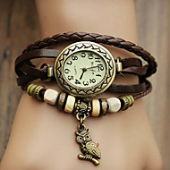 Women's Watch Bohemian Owl Pendant Leather Band Bracelet Cool Watches Unique Watches Fashion Watch