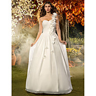 Lanting Bride A-line / Princess Petite / Plus Sizes Wedding Dress-Floor-length One Shoulder Chiffon