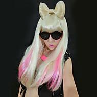 Ladygaga Style Flaxen bowknot Straight pitkä peruukki