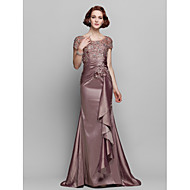 Lanting Bride® Trumpet / Mermaid Plus Size / Petite Mother of the Bride Dress - See Through Sweep / Brush Train Short SleeveLace /