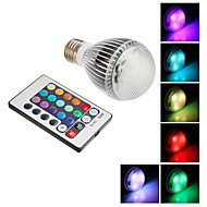 הנורה E27 9W 350-410LM RGB LED אור כדור עם שלט רחוק (85-265V)