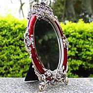 "7"" Retro Flower Style Metal Tabletop Mirror"