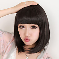 Capless Short Bob High Quality Synthetic Natural Black Prosto Wig włosów Full Bang