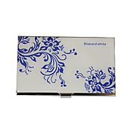Gepersonaliseerde Blauw-Wit Patroon van de Bloem Gegraveerde visitekaartjeshouder
