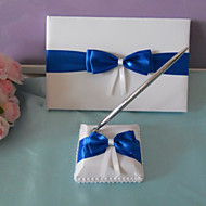 Elegant Wedding Guest Book and Pen Set With Blue Bow Sign In Book