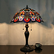 Fleur Lampe de table Motif, 2 Light, Tiffany alliage de zinc Peinture sur verre