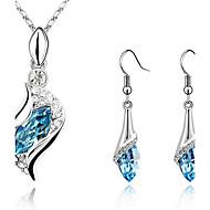 Conjunto de Jóias Brincos Compridos Colares com Pendentes Cristal Gemas Cristal Zircônia Cubica Prata Chapeada imitação de diamanteRosa