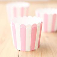Pink & White Strip emballages de petit gâteau - Ensemble de 50