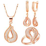 Liga lindo platinadas Com Limpar strass Set Jóias (incluindo colares, anéis, brincos)