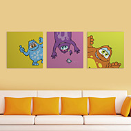 Stretched Canvas Print Art Cartoon Funny Monsters Set of 3