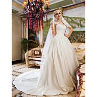 Lanting Bride Ball Gown Petite / Plus Sizes Wedding Dress-Chapel Train Queen Anne Lace / Satin