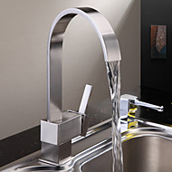 Modern Tall / High Arc Inbouw Waterval with  Keramische ventiel Single Handle Een Hole for  Geborsteld nikkel , Keuken Kraan