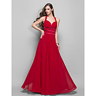 TS Couture Prom Formal Evening Military Ball Dress - Open Back Sheath / Column Halter Floor-length Chiffon with Side Draping