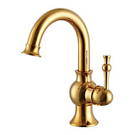 Contemporary Centerset Ceramic Valve Single Handle One Hole with Antique Brass Bathroom Sink Faucet