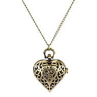 Women's Fashion Watch Necklace Watch Quartz Band Heart shape Bronze Brand