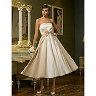 Lanting A-line / Princess Petite / Plus Sizes Wedding Dress - Ivory Tea-length Sweetheart Satin